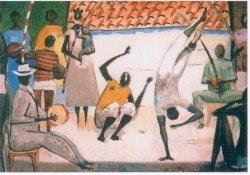 reprodução de obra de Carybé, jogo de capoeira
